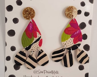 Floral stripe dangles