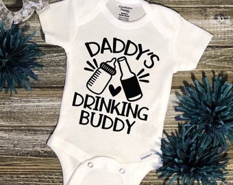 Daddys Drinking Buddy Baby BodysuitBaby Shower GiftCute Baby ClothesFun
