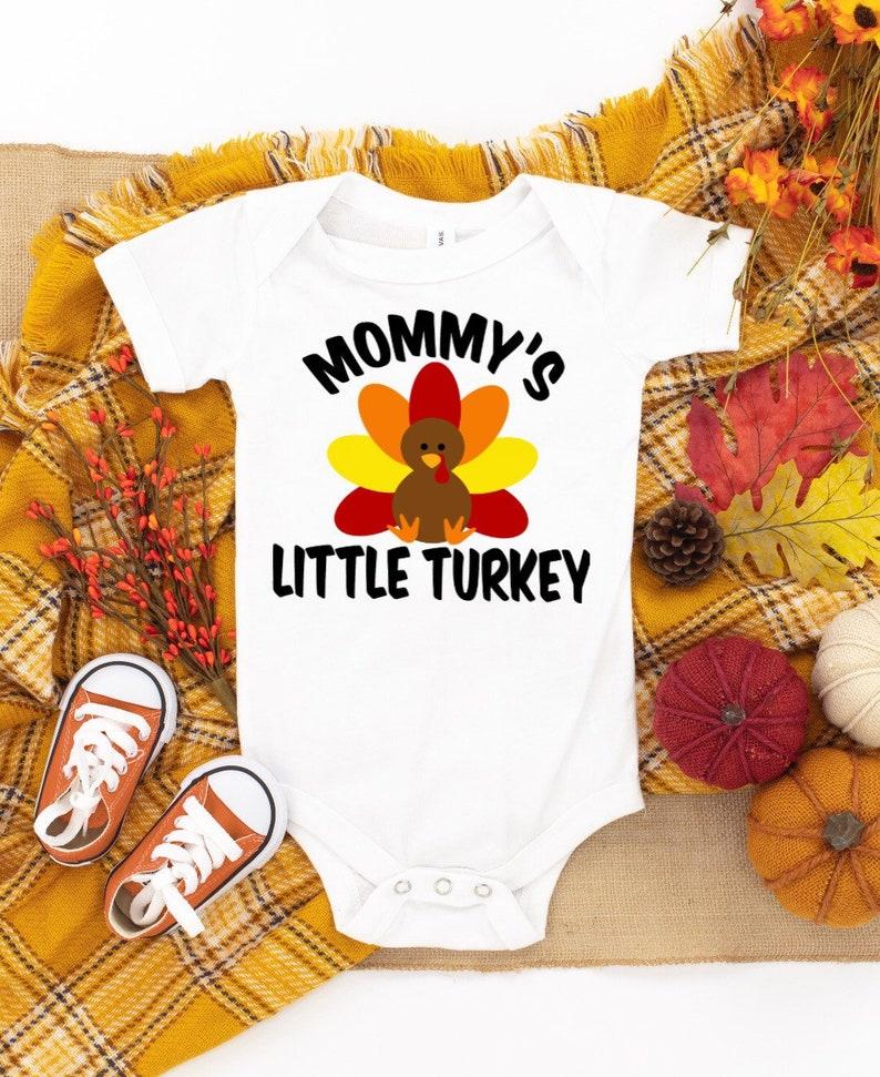 Mommy\u2019s Little Turkey Baby Bodysuit Baby Girl Thanksgiving Bodysuit Fall Bodysuit Baby Clothing Turkey