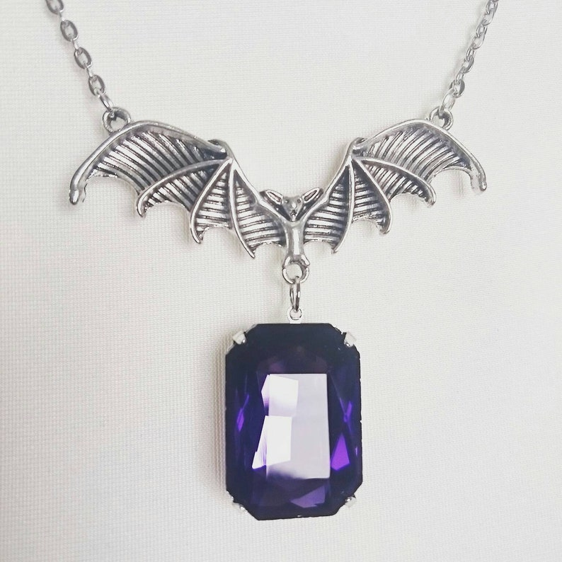 Raised by a Bat Purple faceted Crystal Glass Octagon Stone Pewter Necklace Gothic Vampire Jewellery Victorian Fantasy