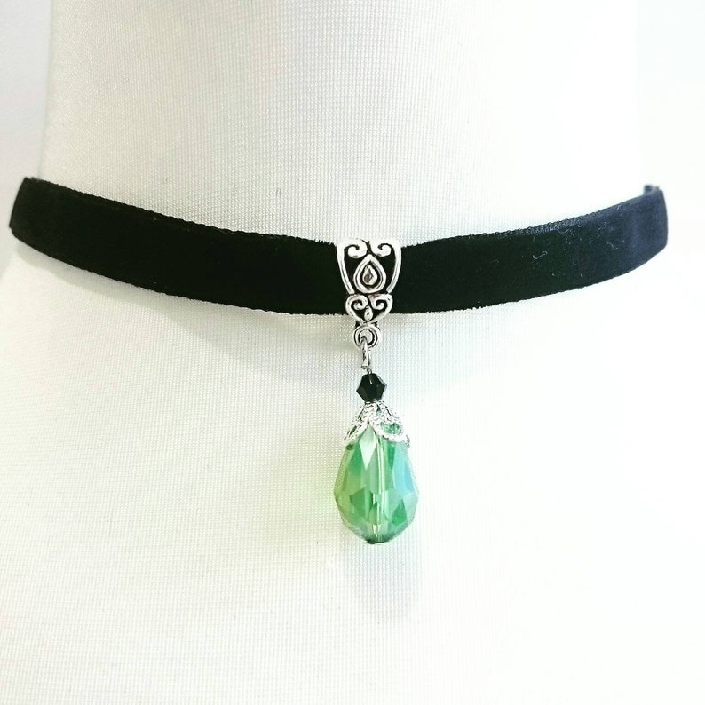 Double sided Velvet Ribbon Choker Crystal Glass Drop Faceted Red Black Blue or Green Goth Gothic Necklace Vampire Princess