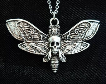 Death Deaths Head Hawk Moth Silver Pewter effect Charm Necklace Pendant Amulet Insect Animal Occult Goth Gothic Nature