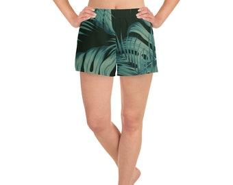 8bd82f1954 Black Palm Leaf Women's Athletic Short Shorts