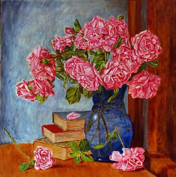 Roses Still Life Roses Painting Roses In Vase Oil Painting On Etsy