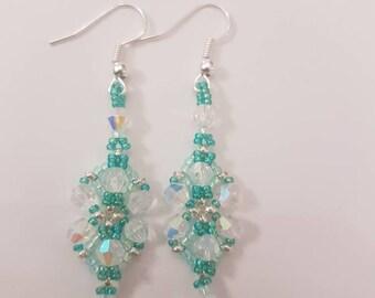 Ice green vintage style earrings