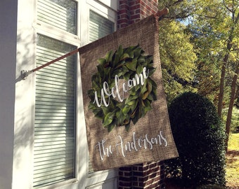 Yard Flag, House Flag, Custom Flag, Magnolia Wreath Flag, Personalized Yard Flag, Boho Chic, Welcome Flag, Rustic Flag, Double Sided Flag