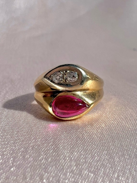 Vintage 14k Synthetic Ruby Diamond Ring 1951