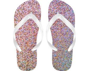 colorful pixelated Flip Flops