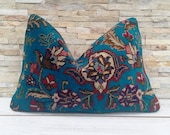 Moroccan Decor Rustic Throw Pillow, Vintage Turkish Lumbar Pillow Cushion Cover, Persian Rug Bohemian Style, Handmade Wool Pillow 24 16in