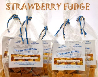 Strawberry Fudge - Handmade Fudge - Handmade Confectionery, Fudge, Made in Devon, Edible Gifts, Sweet Treats, Food Gifts, Sweets, Strawberry
