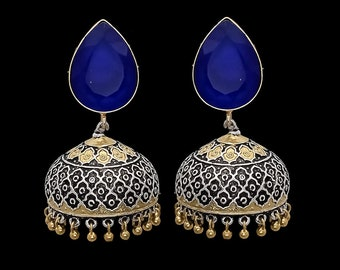 Antique silver look metal earring jhumkas