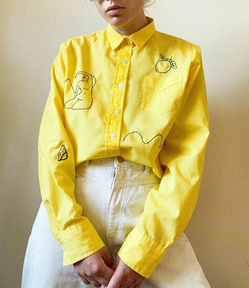 Reworked Vintage Hand Embroidered yellow shirt image 0