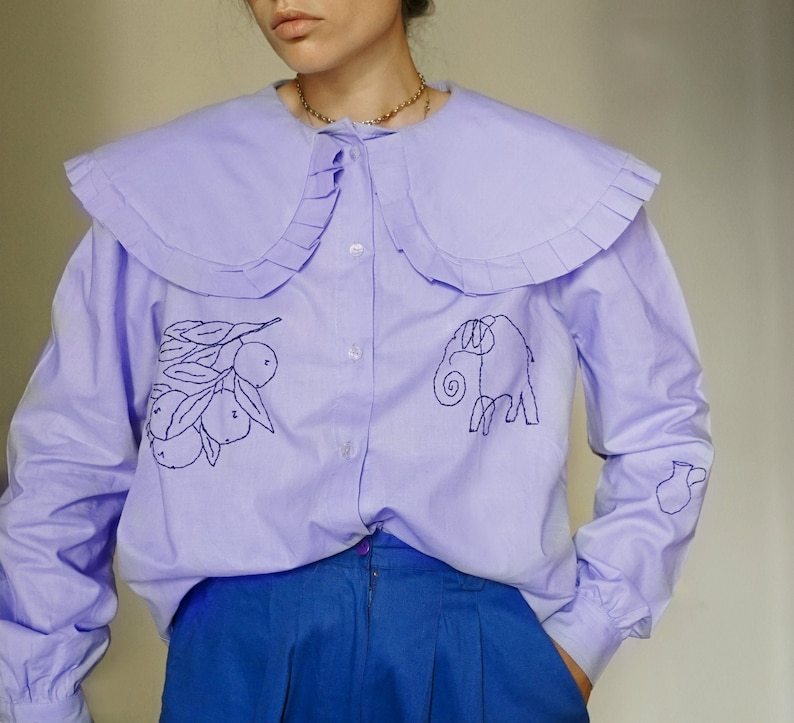 Hand Embroidered Oversized Collar Lilac Blouse image 0