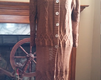 Paco-vicuna cableknit and lace jacket