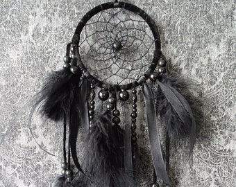 Black nightmare catcher with beads and feathers dream Catcher Gothic wreath