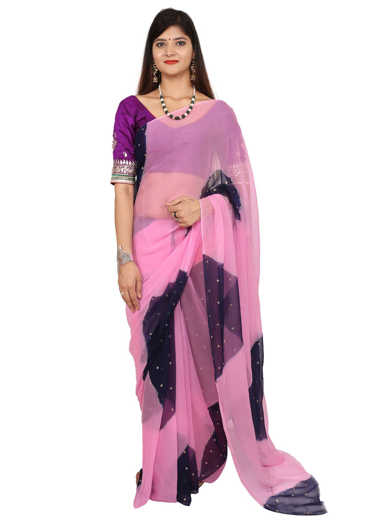 beautiful multy color chiffon saree with full jaal secquence work