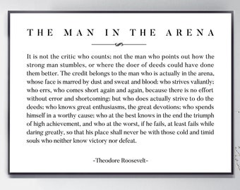 graphic regarding The Man in the Arena Printable called Gentleman inside of the arena Etsy