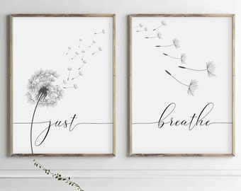 Inhale Exhale Just Breathe  Calming Prints Breathe Quote Calm Minimalist Print Breathe Print Breathe Breathe Sign Calm Gifts