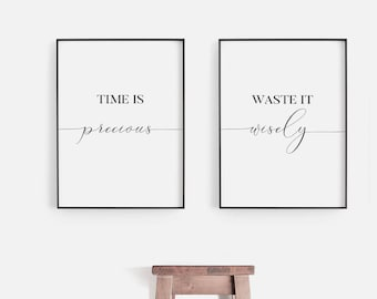 office wall prints. Time Is Precious Waste It Wisely | Office Wall Art Inspirational Print Set Of 2 Prints Printable Poster Motivational Quote E