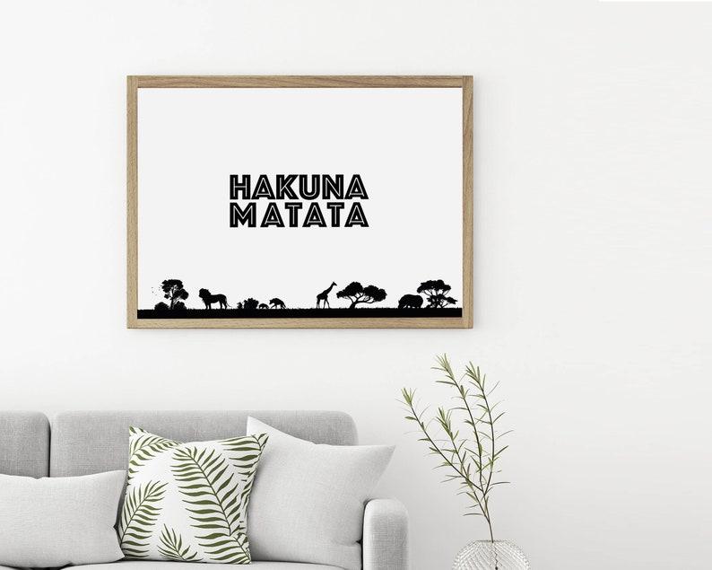 Hakuna Matata Wall Art Hakuna Matata Print Black & White ...