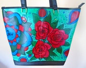 Women 39 s Gift Hand Painted Leather Shoulder Bag Leather Handags Leather handbag Free Shipping Gift For Me Astract Art Colourful Purse