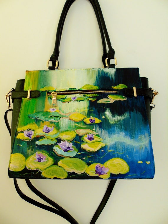Hand painted vegan leather hand bag