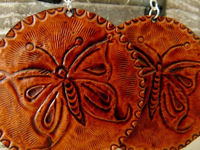 Hand Tooled Leather Earrings Leather JewelryWestern EarringsPagan EarringsBoho EarringsPersonalized JewelryCowgirl JewleryCircle