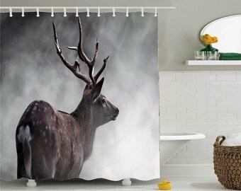 Art Deer Shower CurtainAnimal CurtainWaterproof Curtainshower Curtain Fabricprinted CurtainsMax 79x79 Inchs