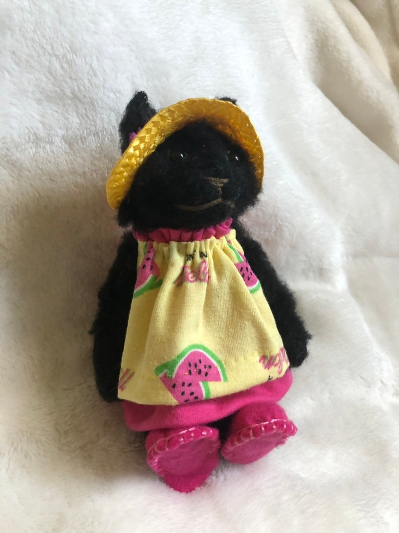 Stuffed Summer Black Cat Plushie with Yellow and Pink Dress OOAK