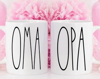 Grandparents Mug Set OMA OPA Mugs, Grandparent Mugs for Oma and Opa Gift Coffee Mugs