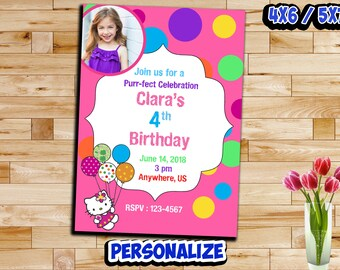 Hello Kitty Invitation , Hello Kitty Birthday Invitation , Birthday Invitation , Girl Invitation , Personalize Invitation , Digital Files