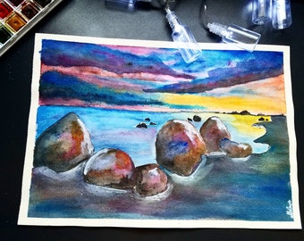 Watercolour hand painting - Rocks on the sea A4 size