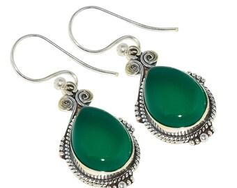 """Green Onyx 925 Sterling Silver Earring 1.77"""""""