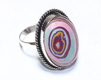 Fabulous Rainbow Calsilica 925 Silver Ring Adjustable