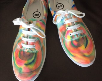 Hand painted canvas shoes size 5 rainbow swirl