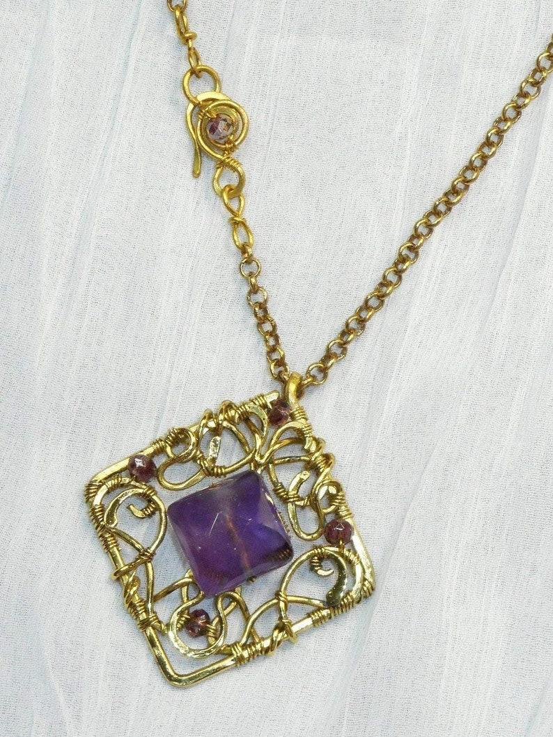 Collana con pendente Liberty con Ametista pietra dura preziosa viola oro collane regalo mamma laurea donna vintage regali gioielli