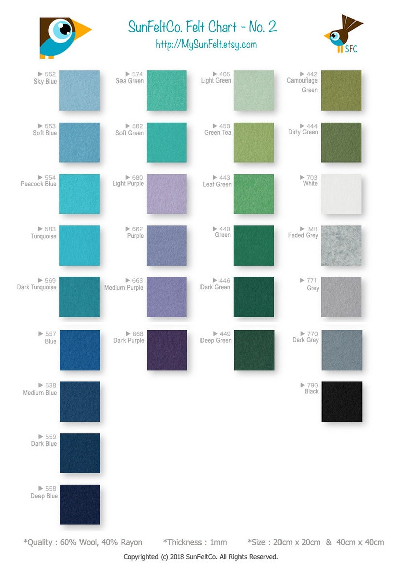 No 40cm x 40cm SunFelt Quality Wool Blend Felt Fabrics for Sewing and Crafting 440 Green Felt