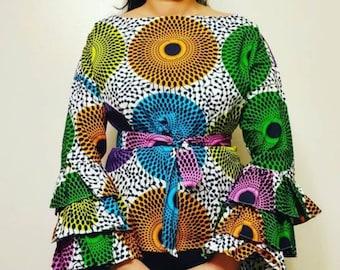 Circle African Print Ankara Style Long Ruffle Sleeve Blouse
