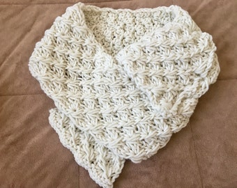Cream hand knitted cowl