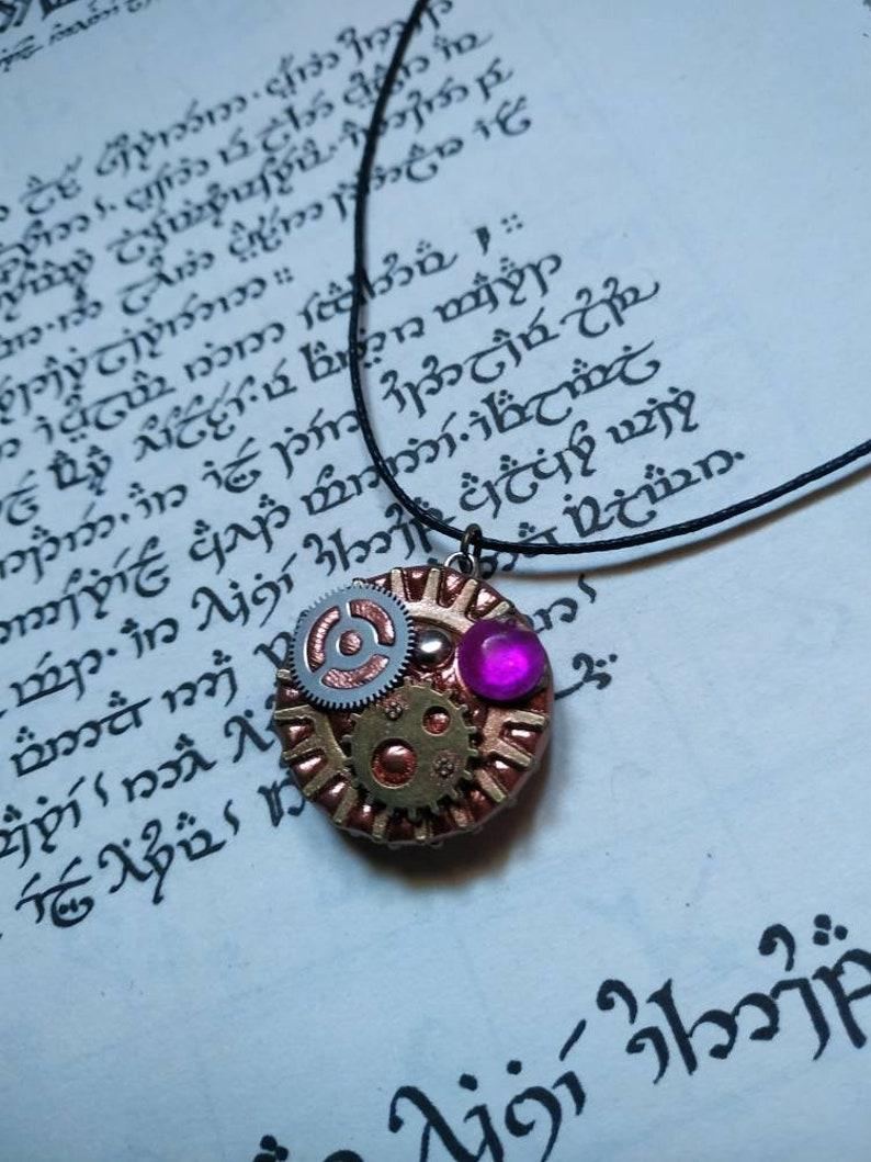Steampunk pendant purple rhinestone double sided