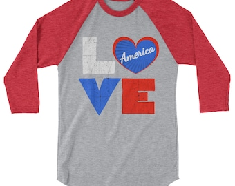 4th of July Shirt for Women Love America Red White Blue Patriotic Tee  Independence Day
