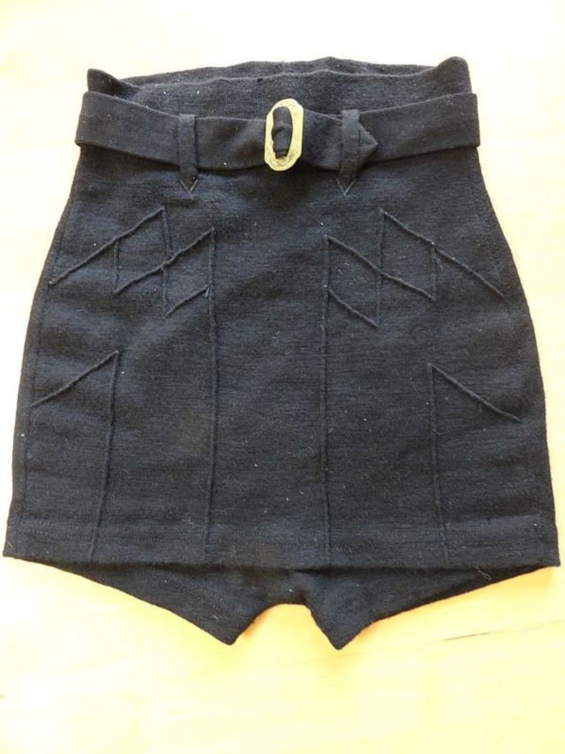 1ead973c91 Vintage 1930s Catalina Black Wool Swimsuit Bottoms w Belt M