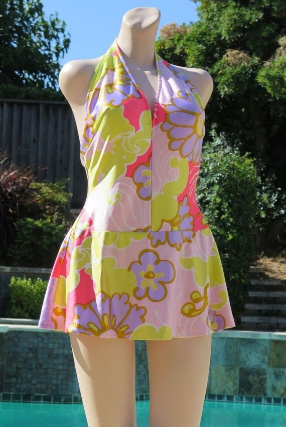 Vintage 70s BRIGANCE Graphic Bright Pastel Skirted