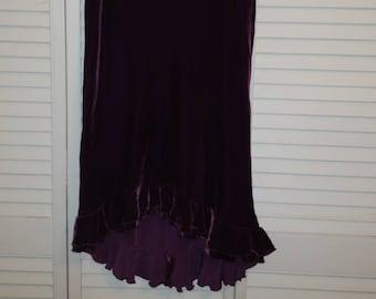 Nanette Lepore Vintage 90's DarkPurple Velvet Ruffled Hi-Lo Hem Skirt Size 4