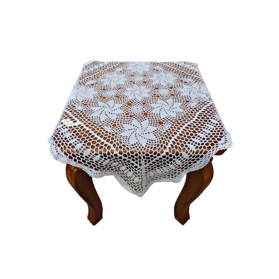Dining Kitchen Home Handmade Crochet Vintage Lace Table cover Tablecloth 30x60