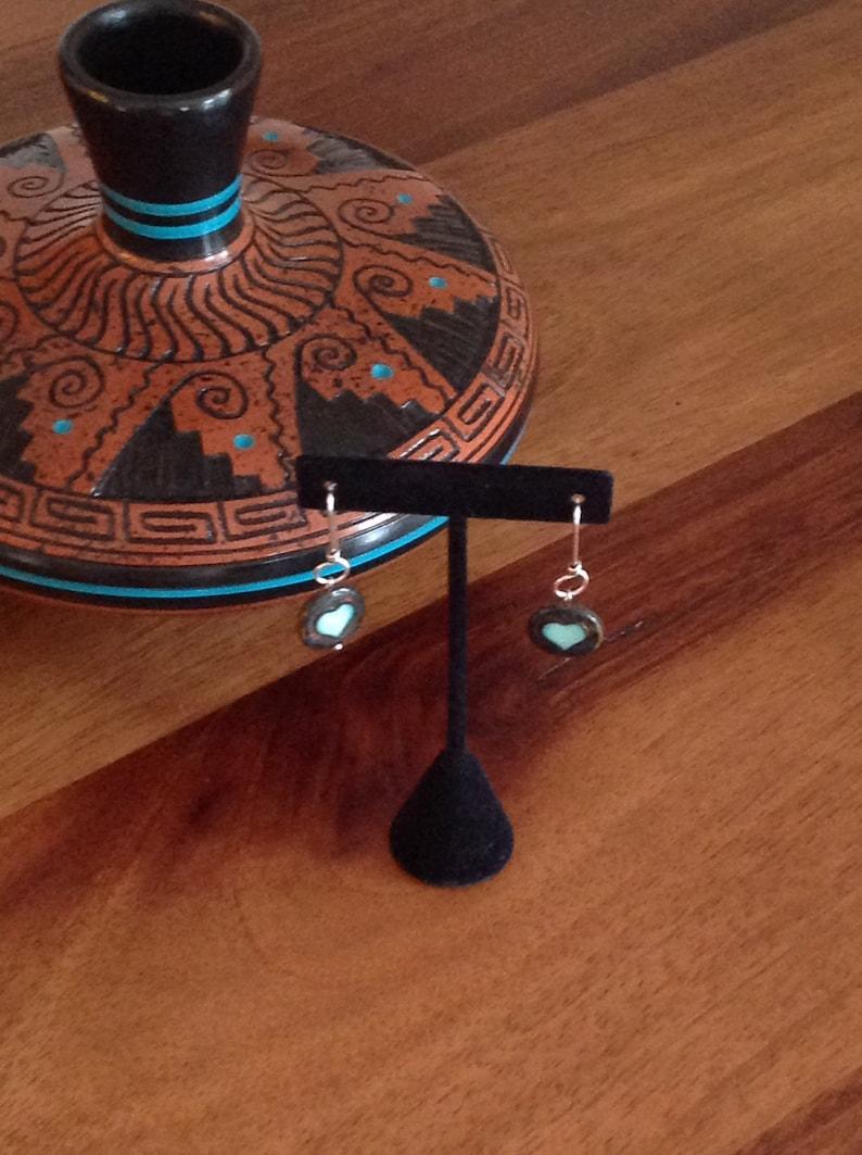 Seafoam Heart Czech Bead Dangle Earrings on Designer Sterling Silver Wires Beaded Dangles