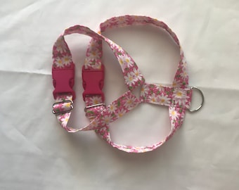 Pink with flowers harness for girl female dog puppy cat pet