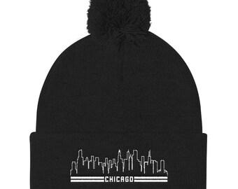 23ae344aeef12 Chicago Skyline Embroidered Winter Hat Pom Pom Knit Cap