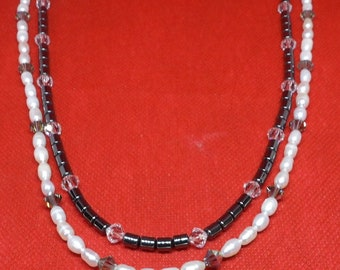 Double strand necklace with black hematite, Swarovski crystals and freshwater pearls with sterling silver 3mm figure 8 chain