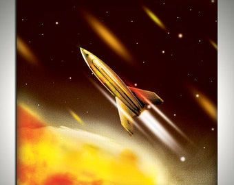 rocket 40x40cm limted edition